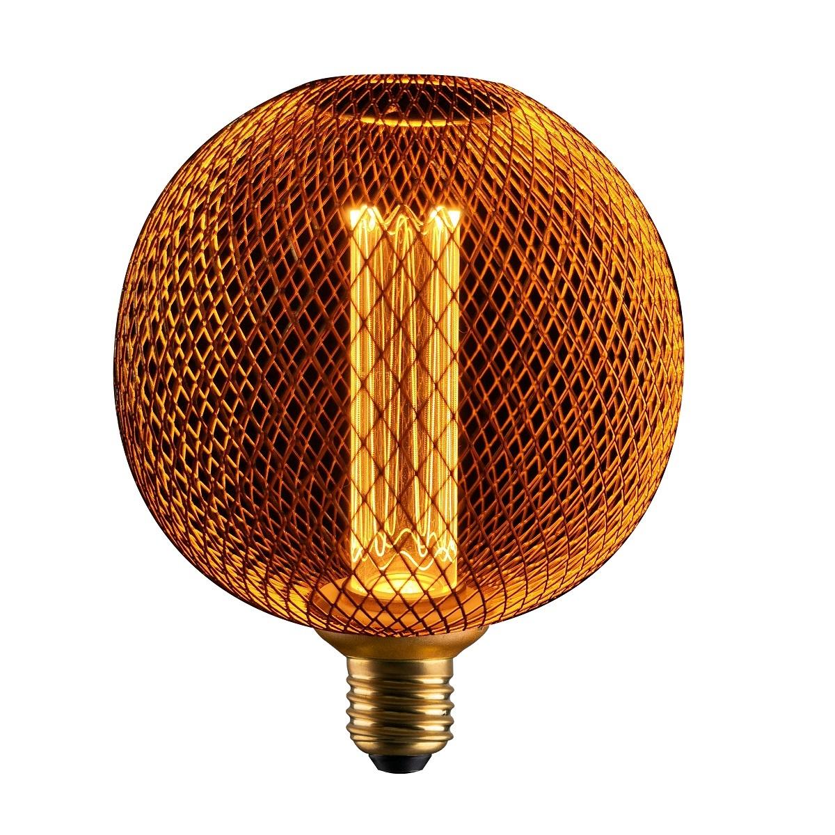 LED GLOBE 3W METALEN BEHUIZING GOUD DIMBAAR E27