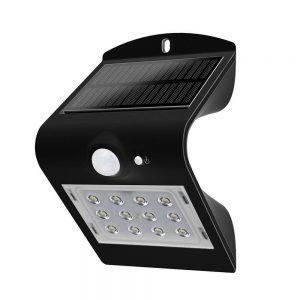 LED SOLAR WANDLAMP 1,5W MET 2-IN-1 SENSOR ZWART