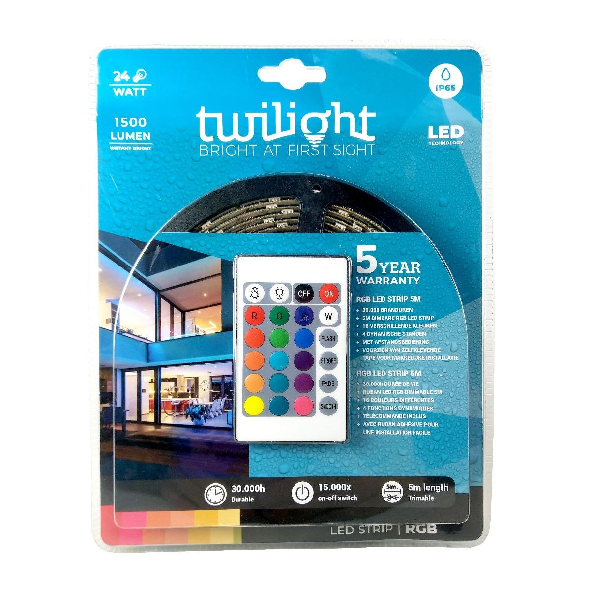 TWILIGHT LED STRIP 24W 5M IP65 RGB 5 JAAR GARANTIE
